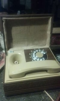 brown and white rotary telephone with box Dallas, 75223
