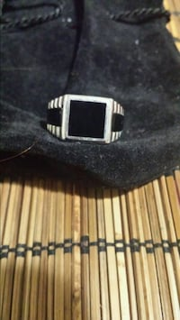 Real sterling silver men's onyx ring