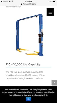 10k lb. Two Post Auto Lift, by Forward