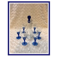Bohemia CzechRepublic Vintage Crystal W/Blue Decanter & 6 Shot Glasses