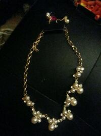 Goldtone Pearl Necklace & Matching Earrings