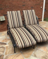 Two Wrought Iron Chaise Lounges with Sunbrella Cushions