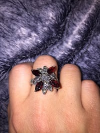 silver ruby studded ring