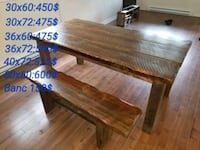 rectangular brown wooden picnic table with chair set Laval, H7A