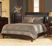 brown wooden bed frame with white and blue comfort Toronto, M1K 2G1