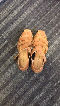 Pair of brown leather open toe sandals Falls Church, 22041