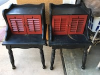 """Pair of cool end tables/nightstands with shutter doors. Sturdy but could use painting. 17""""W x 17.5""""D x 26.5""""H San Marcos, 92078"""