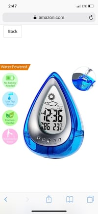 Jamal Alarm Clock Water Power Weather Station, Eco-Friendly Hydrodynamic Water Powered Digital Clock, Time Display and Temperature Measurement for Office Living Room Bedroom (Blue) Greensboro, 27405