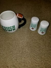 Football cup and salt and pepper shakers