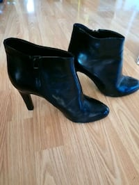pair of black leather chunky heeled booties Hamilton, L8M 2X8