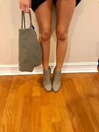 Gray/taupe leather ankle boots with wood heel Hobe Sound, 33455