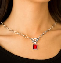 Silver and red pendant necklace Orlando, 32808