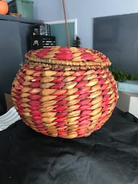 Red and Natural Wicker Basket