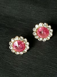 Gold tone Pink and Clear Rhinestone earrings /post Airdrie, T4B 0E4