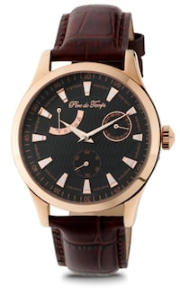 round black and silver chronograph watch with black leather strap Hoffman Estates, 60169