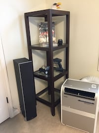 2 wood and tempered glass shelving units from Pottery barn 59 1/2 in tall x 18 inch square  Franklin, 37064