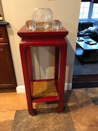 One red wood and bamboo side table 259 mi