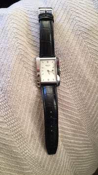 Square silver-colored analog watch with black leather strap 838 mi