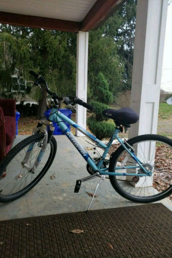 blue and gray hardtail mountain bike