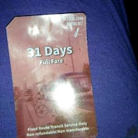 31 day bus pass Indianapolis, 46201