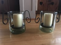 Wroth Iron/Glass Candle Holders
