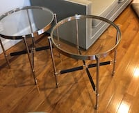 New round glass end tables with leather base, were kept in storage  Franklin Lakes, 07417