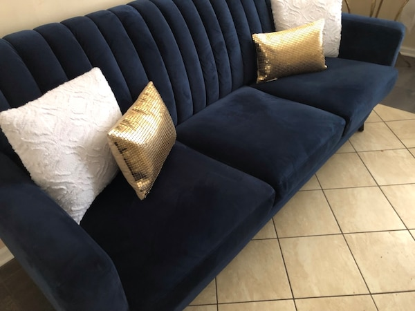 Wondrous Navy Blue Microfiber Couch Gmtry Best Dining Table And Chair Ideas Images Gmtryco