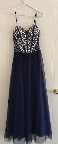 Navy Blue and silver spaghetti strap prom dress! Bought it for $200 now selling $75 Cambridge, N1T 2G4
