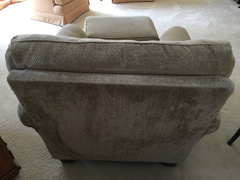 Tan Armchair/couch with ottoman 05310258-9c1f-458f-b01d-e5a6bec9f80d