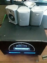 gray and black 4.1 channel home theater system