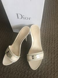 Pair of white leather Dior open toe heeled sandals Calgary, T3M 0R2