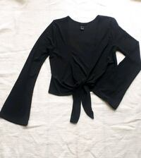 Black Long Sleeve Tie Front Top