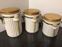 Ceramic canisters with wooden lids Fairfax, 22030