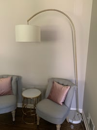 Marble and brass shaded floor lamp