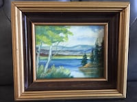 Small framed original oil painting Lake Scene 科奎特兰