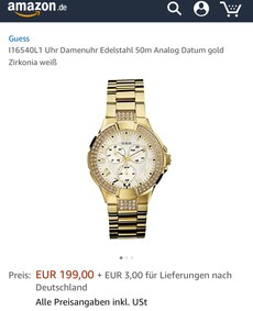 Gold rond Guess Chronographenuhr mit Link Armband