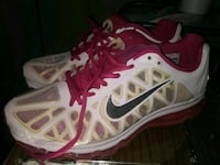 pair of white-and-pink Nike running shoes