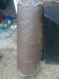 black leather heavy bag with blue and blue stand Edmonton, T6L 1B4