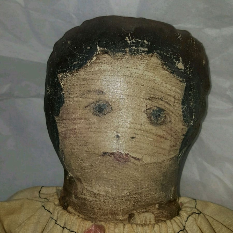 Antique 1800's Cloth Oil Painted Doll