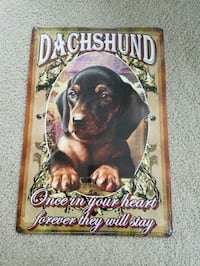 Dachshund wiener in heart forever metal sign  Vancouver, 98686