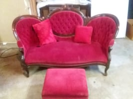 Love seat with foot stool