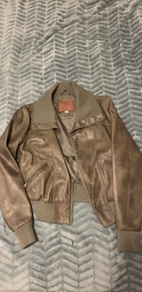 Brown faux leather zip-up jacket.