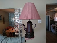 brown wooden kettle base table lamp with cone red lampshade Claymont, 19703
