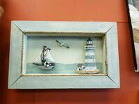 lighthouse and sailing ship figures with gray frame Wasaga Beach, L9Z 1V1