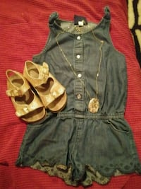 toddler 2t jean romper w/necklace and gold sandals McAlester, 74501