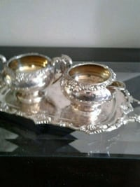 Silver cream & sugar with small tray Kitchener, N2K 4J7