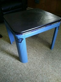 Black and blue painted table with gems- butterflys