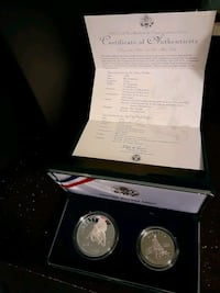 1995 civil war battlefield 2 coin set, silver dollar and clad