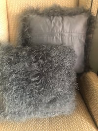 "Mongolian wool, charcoal 18""x18"" pillows"