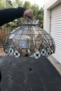 Stained glass hanging dome light